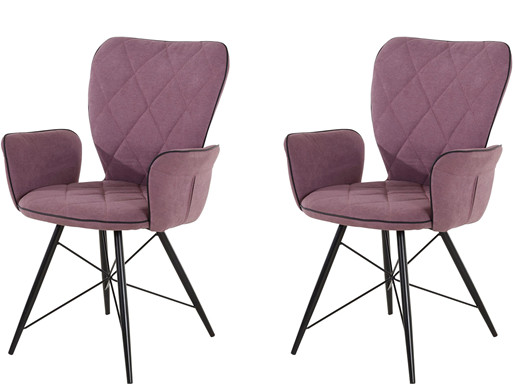 2er-Set Stuhl VIRGO gepolstert aus Polyester in lila
