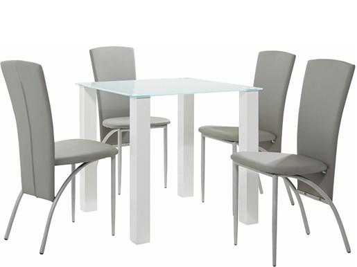 5-tlg. Essgruppe NAOMI modernes Design weiß-grau