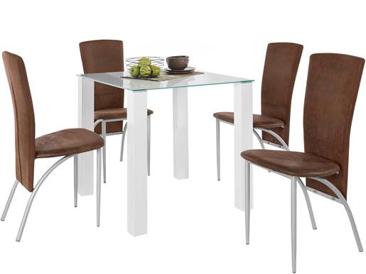 5-tlg. Essgruppe NAOMI 80 cm mit Stühlen in braun/metall