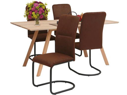 5-tlg. Essgruppe FRED, 4 Stühle in dunkelbraun, Tisch 160 cm
