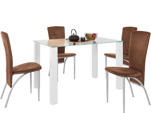 5-tlg. Essgruppe NAOMI 120x80cm mit Stühlen in braun/metall