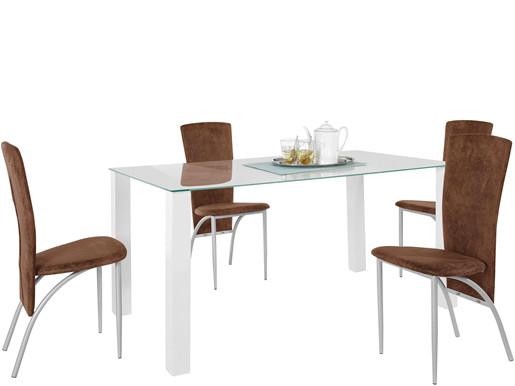5-tlg. Essgruppe NAOMI 160x90cm mit Stühlen in braun/metall