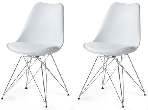 2er Stühle CELIA mit weißem Sitz und Chrom-Gestell