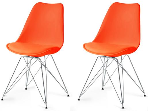 Modernes 2er-Set Stühle CELIA in orange mit Chrom-Gestell