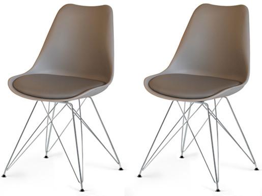 Moderne 2er Stühle CELIA mit Sitz in grau & Chrom-Gestell
