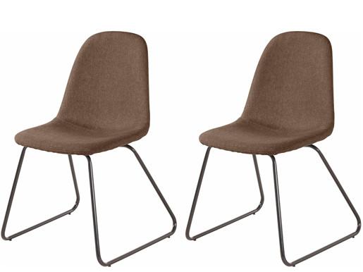 2er-Set Stuhl COCO mit Kufengestell gepolstert in Cappucino
