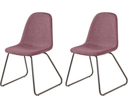2er Set Freischwinger Stuhl COCO in rosa Metallbeine