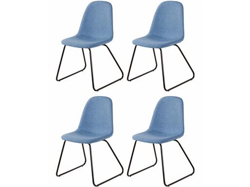 4er-Set Stühle COCO mit Metallgestell, Webstoff in jeansblau
