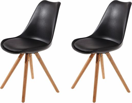 2er Set Stuhl BRITTA aus Kunstleder in schwarz Holzbeine