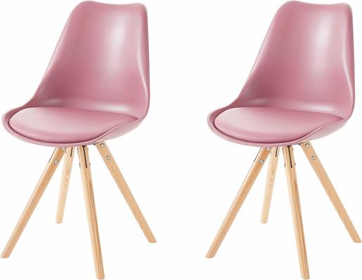 2er Set Stuhl BRITTA aus Kunstleder in rosa Holzbeine