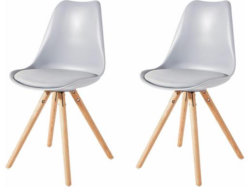 2er-Set Stuhl BRITTA aus Kunstleder mit Holzbeinen, grau