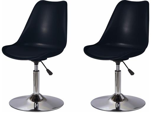 2er-Set Drehstuhl SICO mit Metallgestell und Sitz in schwarz