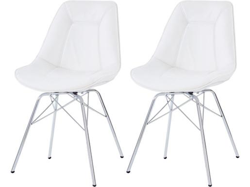 2er-Set Stuhl SURI Kunstleder in weiß mit Chrom Gestell