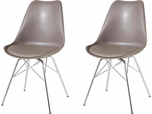 2er-Set Stuhl JERRY Gestell aus Chrom in cappuccino