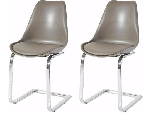 2er Freischwinger Stühle ELISA gepolstert in cappuccino