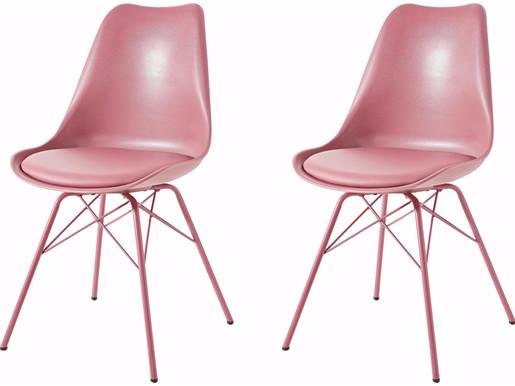 Modernes 2er-Set Stühle LIAM in rosa mit Chrom-Gestell