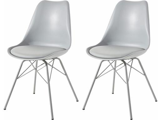Modernes 2-er Set Stühle LIAM in grau mit Chrom-Gestell