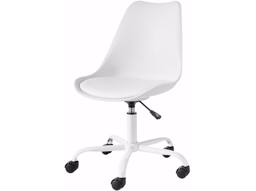 Bürostuhl DAN mit gepolstertem Sitz in weiß