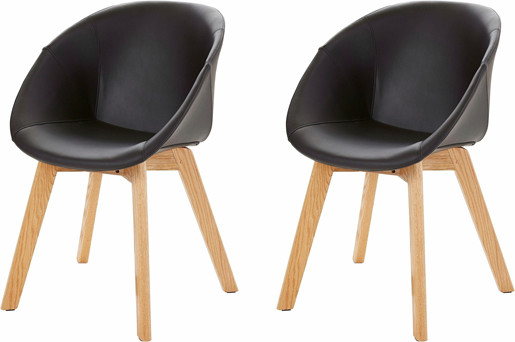2er-Set Stühle BONO mit Kunstlederbezug in schwarz