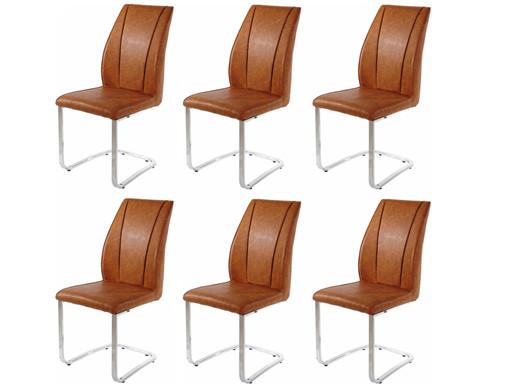6er Set Stühle GIOTTO aus Kunstleder in cognac