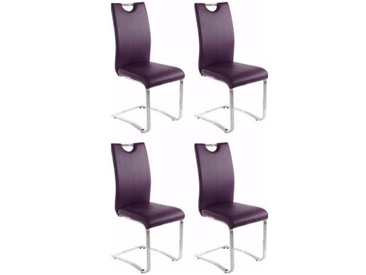 4er Set Esszimmerstühle VERA aus Kunstleder in lila