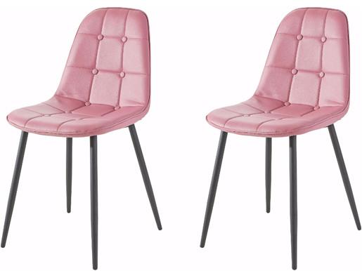 4er Set Stuhl LUCIA aus Kunstleder in rosa
