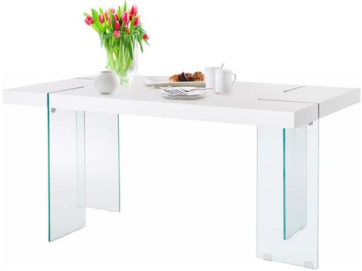 Esstisch TRACY Breite 160 cm Beine aus Glas Weiß hochglanz