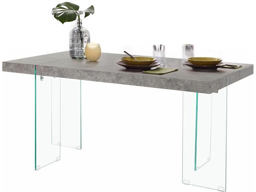 Esstisch TRACY Breite 160 cm Beine aus Glas Zement-Optik