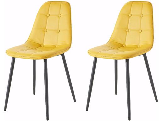 2er Set Stuhl LUCIA aus Kunstleder in curry