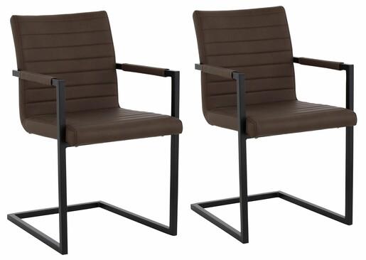 2er Set Stuhl SERENA mit Armlehnen aus PU in braun