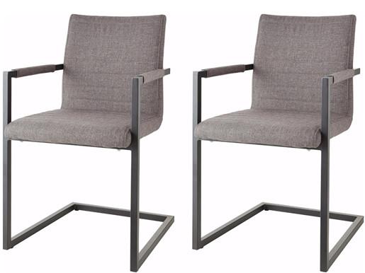 Freischwinger Stühle SERENA aus Stoff in grau