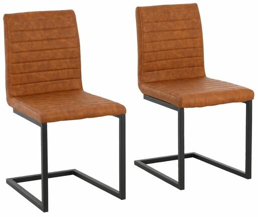2er Stuhl SERENA ohne Armlehne aus PU in cognac