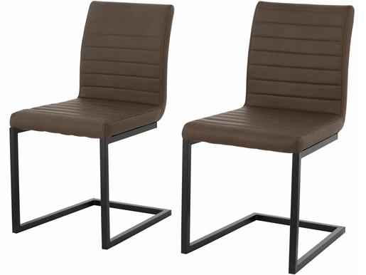 2er Set Stuhl SERENA ohne Armlehne aus PU in braun