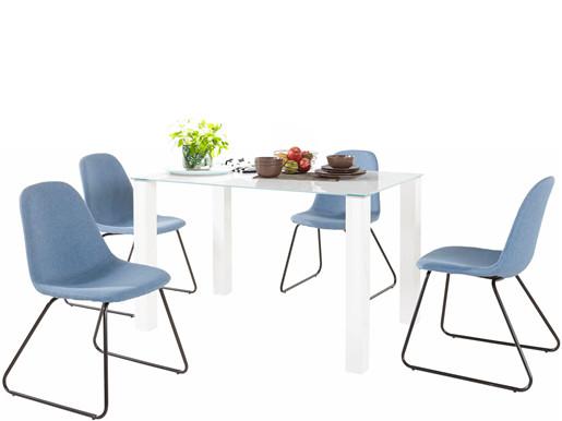 5-tlg. Essgruppe COCO 120 cm mit 4 Stühlen in jeansblau