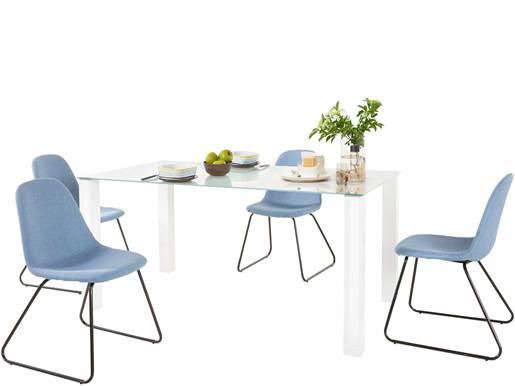 5-tlg. Essgruppe COCO 160 cm mit 4 Stühlen in jeansblau