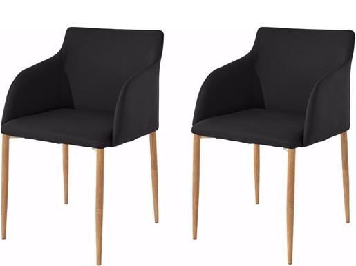 Stühle NONI aus PU Leder in schwarz, Beine in eichefarben