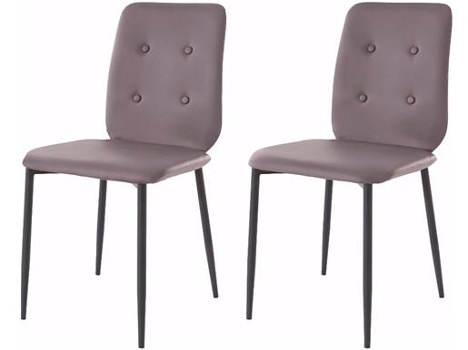2er Stühle LAURA aus PU Leder cappuccino, Beine in schwarz