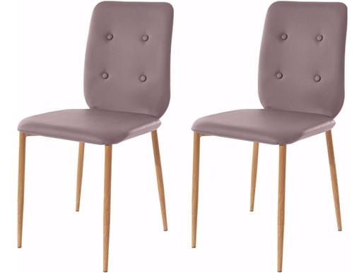 2er Stühle LAURA aus PU Leder in cappuccino
