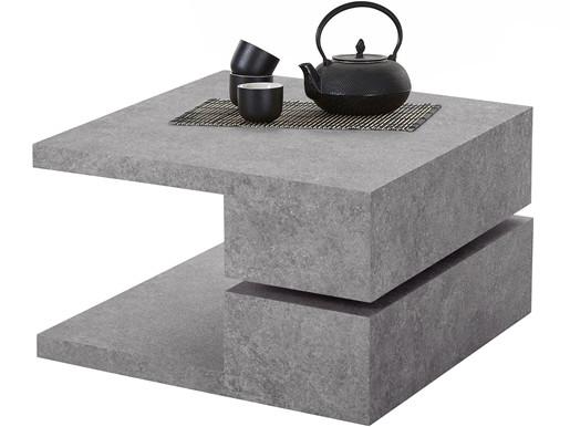 Couchtisch PADMA in Beton Optik, 60x60 cm, drehbare Platte
