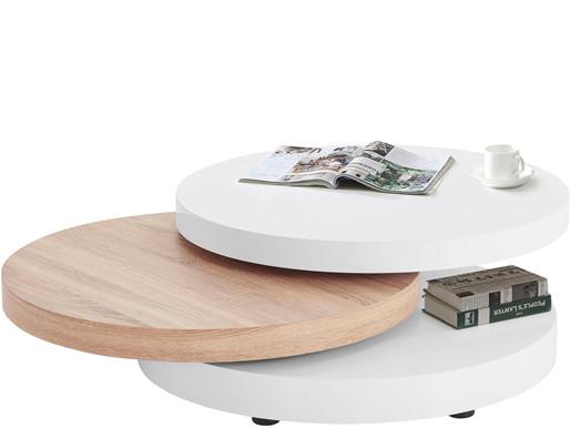 Runder Couchtisch STILA mit beglichen Tischplatten 80 cm