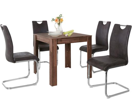5-tlg. Essgruppe LYON mit Tisch 80 cm breit, braun/anthrazit