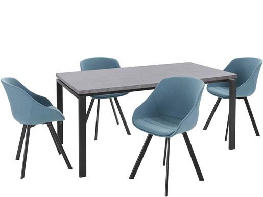 5-tlg. Essgruppe BETTY, 4 Stühle in jeansblue, Tisch 160 cm