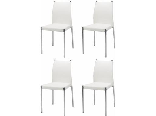 4er-Set Esszimmerstuhl SIVIL mit Kunstleder in weiß