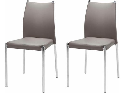 4er-Set Esszimmerstuhl SIVIL mit Metallgestell, cappucino