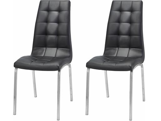 2er-Set Stuhl LUNAR Kunstleder in schwarz