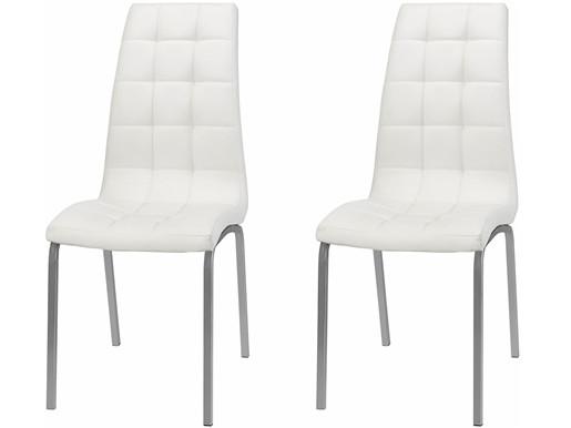 2er Set Stuhl  LUNAR aus Kunstleder in weiß