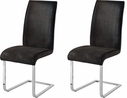 2er-Set Freischwinger Stuhl MARBLE in anthrazit