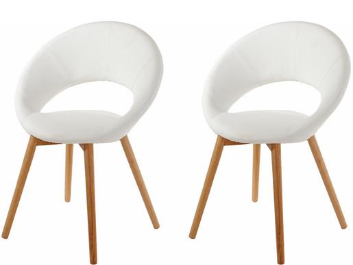 2er Set Stuhl TUXEDO aus Kunstleder in weiß