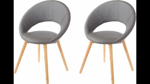 2er Set Stühle TUXEDO aus Kunstleder in grau mit Holzbeinen