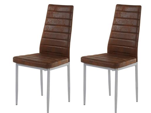 2er-Set Stühle KATIE mit Mikrofaser Buffalo-Bezug in braun